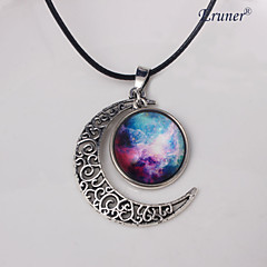Eruner®Colorful Galaxy Cabochon Moon Necklace