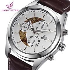 esqueleto de cuero dial redondo reloj de pulsera mecánico de los hombres (colores surtidos)