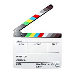 Movie / Film Director's Acrylic Clapperboard Slate - White + Black