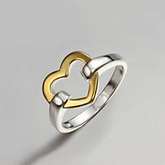 Båndringe Sølv Guldbelagt Hjerteformet Mode erklæring smykker Guld/Sølv Smykker Fest 1 Stk.