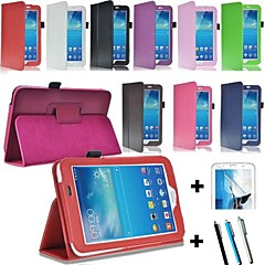 "PU Leather Stand Case Cover for Samsung Galaxy Tab3 7"" P3200 P3210 SM-T210 T211 + Screen Protector + Pen"
