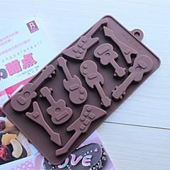 10 de sonde de matrite de ciocolata formă de chitara tort de gheață jeleu, silicon 15 × 14,5 × 1,5 cm (6,0 × 5,8 × 0,6 inci)