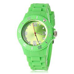 silicona reloj de pulsera de cuarzo dial de banda redonda unisex (colores surtidos)