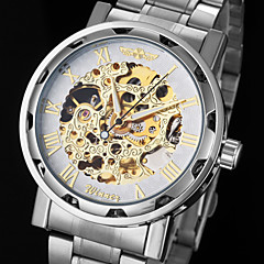 Men's Automatic Mechanical Hollow Dial Steel Band Wrist Watch (Assorted Colors)
