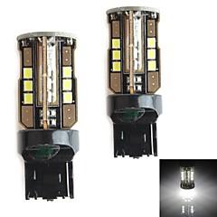 HJ 7440 10W 900LM 5500-6000K 30x2835 SMD LED White Light Bulb for Car Brake Light (12-24V,2 Piece)
