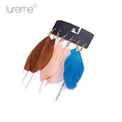 Lureme®Fashion Alloy Feather Earrings Set(3 Pairs/Set)