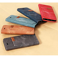 Imitation Denim Sewing Thread PU Leather Cover with Stand for iPhone 5/5S Case (Assorted Color)