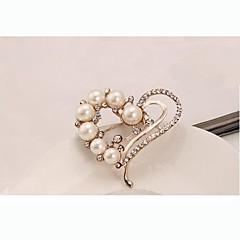 Avrupa tarzı moda yapay elmas inci kalp broş