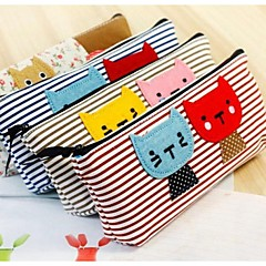 Han Edition Cartoon Cat Stripe Color Matching Canvas Bag