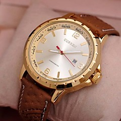 Men's CURREN Leather Circular Quartz Qatch High Quality Japanese Quartz Movement Watches (Assorted Colors)
