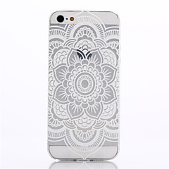 White Datura Pattern TPU Soft Cover for iPhone 5/5S