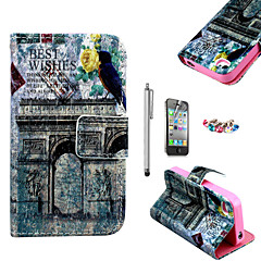 KARZEA™Triumphal Arch Pattern PU Leather Case with Screen Protector and Stylus and Dust Plug for iPhone 4/4S