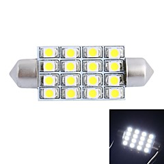 gc® 42mm 4w 200lm 6000K 16x3528 smd hvit LED for bil lesing / nummerplate / dør lampe (DC12V)