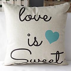moderne stijl romantische woorden blauw hart patroon katoen / linnen decoratieve kussensloop