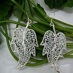 Beautiful Pierced  Fir Leafs-shaped Silver-Plated Drop Earrings 1 Pair