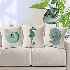 3 kpl modernia tyyliä merieläin kuviollinen puuvilla / pellava koriste tyyny