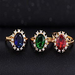 Vintage  Golden Plated Zircon Statemen Rings(Green,Red,Royal Blue)(1 Pc)