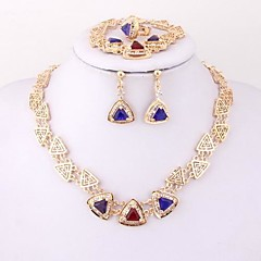 Fashion Zircon 18k Gold Plated (Including Necklace, Earring, Bracelet, Ring) Jewelry Sets