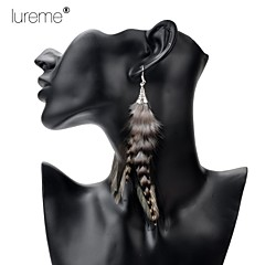 Lureme®  Indiana Style  Flower Trumpet Pheasant  Feather Alloy Pendant Earrings