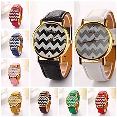 mujeres onda de la raya de la PU vestido de soporte de dama marca de lujo de diamantes de cuero reloj de pulsera (colores surtidos)