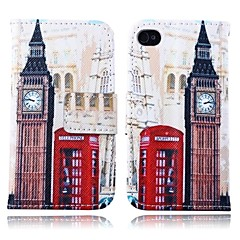 Big Ben Pattern PU Leather Full Body Case with Card Slot and Stand for iPhone 4/4S