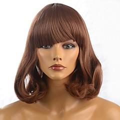 Capless dame medium korte lengte bruin haar pruik