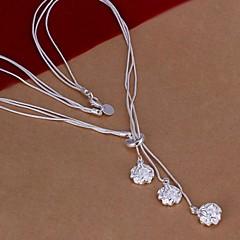 Damskie Naszyjniki z wisiorkami Flower Shape Rose Srebro standardowe Biżuteria Na Ślub Impreza Codzienny Casual 1szt
