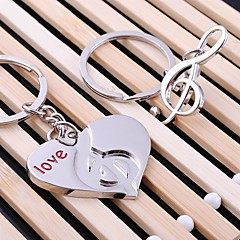 Heart Music Wedding Key Ring Keychain for Lover Valentine's Day(One Pair)