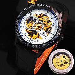 zegarek mechaniczny Nakręcanie automatyczne Skóra naturalna Pasmo Black/White Black Brown/White