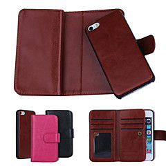 Solid Color Genuine Leather Wallet Cases with 6 Card Slots for iPhone 5/iPhone 5s Plus (Assorted Colors)