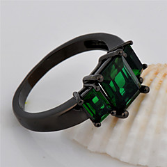 High Quality Fashion Women's Black Gold 10 KT Zircon Ring Three Green Square