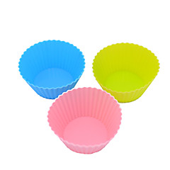 Silicone Cake Chocolate Pudding Jelly Mold With Baking Oven Silicone Mold Muffin Cup (Round) (Color Random)