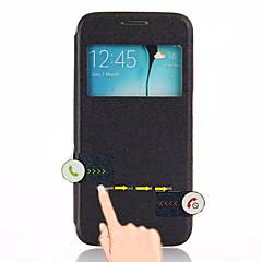 Για Samsung Galaxy Θήκη με βάση στήριξης / με παράθυρο / Αυτόματη αδράνεια/αφύπνιση / Ανοιγόμενη tok Πλήρης κάλυψη tok ΜονόχρωμηΣυνθετικό