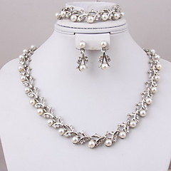 Women Vintage/Cute/Party/Work/Casual Alloy/Cubic Zirconia/Imitation Pearl Necklaces/Earrings/Bracelets Sets