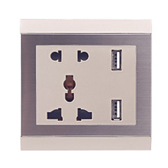 086W 2.3 Inserted with 2.1A Double USB Universal Charging Wall Socket - Champagne