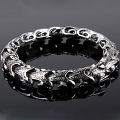 Toonykelly Fashion 22CM Men's Stainless Steel Silver Dragon Bracelet(Silver)(1PC) Christmas Gifts