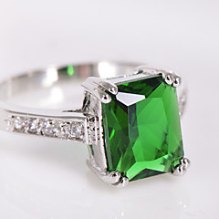 High Quality Fashion Platinum 10 KT Green Square Drill Zircon Ring