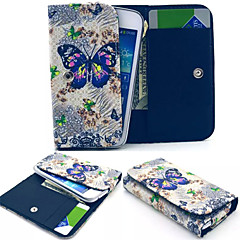 Large Butterfly Pattern PU Leather Case Card Money for Samsung Mobile Size<15.7*8.2*2.2