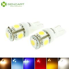 T10 149 168 W5W johti sininen / punainen / lämmin valkoinen / vihreä / keltainen / valkoinen 1.5W 5x5050smd 90lm auton lamppu (dc12-16v)