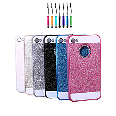 High Quality Sparkled Finish Metal Back Cover Case with Diamond And Touch Pen for iPhone 4/4S (Assorted Colors)