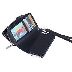 correa de muñeca patrón cremallera cartera casos cartera de cuero genuino para el iphone 5 5s / iphone