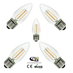 5PCS ONDENN E26/E27 4 W 4 COB 400 LM 2800-3200K K Warm White A Dimmable Candle Bulbs AC 220-240/AC 110-130 V