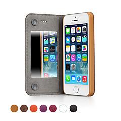 ggmm® custodia in vera pelle di tutto il corpo con specchio per iPhone5 / 5s (colori assortiti) con pellicola protetta schermo libero