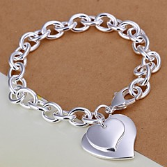 Fashion Double Heart 925 Silver Charm Bracelets  1pc Jewelry