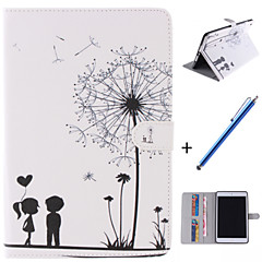 Lover and Dandelion Pattern PU Leather Full Body Case with Stand and Capacitance Pen for iPad mini 1/2/3