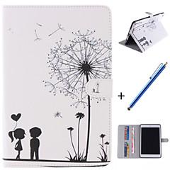 amant et le pissenlit motif cuir PU cas de tout le corps avec support et un stylo de capacité pour Mini iPad 1/2/3