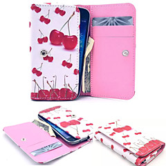 Little Cherry Leather Wallet style Full Body Case and Card Slot for Iphone Mobile Size<12.8*6.8*2.1