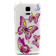 rosa Schmetterling Muster TPU Erleichterung der rückseitigen Abdeckung für Samsung-Galaxie s5mini