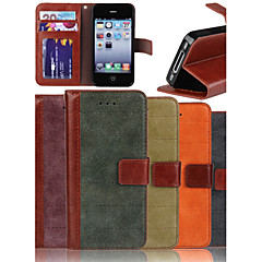 ekte matt nubuck kuskinn PU lær flip deksel wallet card slot case med stativ for iPhone 4 / 4S (assorterte farger)