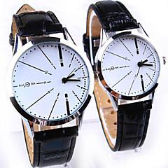 orologi della coppia semplici e casuali rotonde quarzo moda cintura linea (colori assortiti)